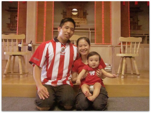 Family wearing red for Oyasama's Birthday
