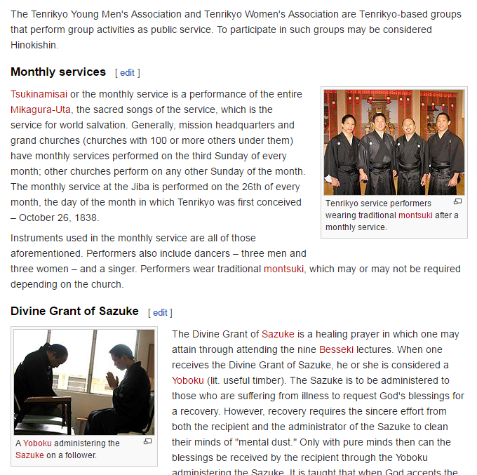 """Screenshot of the """"Tenrikyo"""" page where I contributed 3 of the 6 images used on the page as well as the contents on the page."""